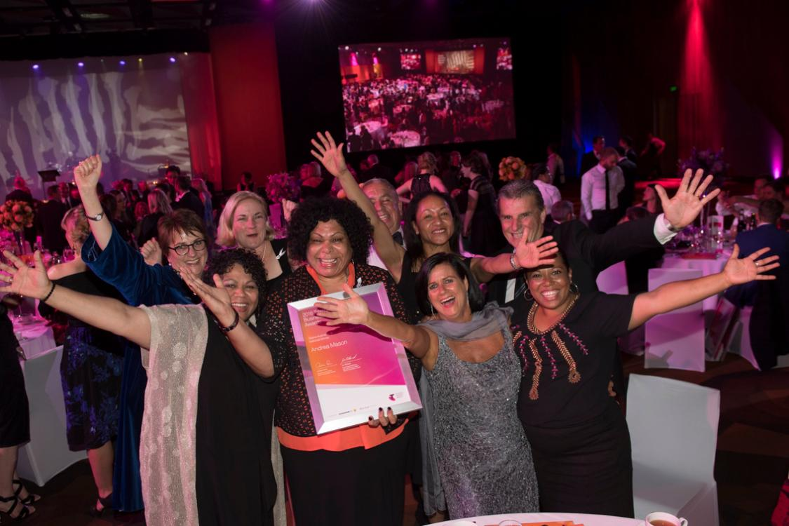 group of women celebrating at awards