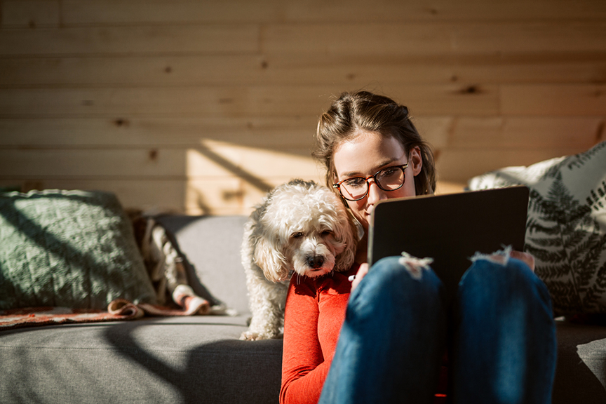 Remote worker with pet